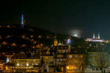View At Prague And Moon At Night