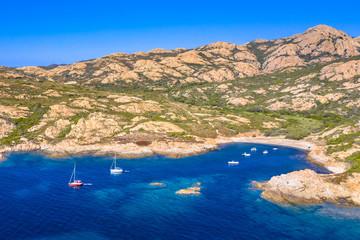 Fototapeta Morze Aerial view of Corsican rocky coast
