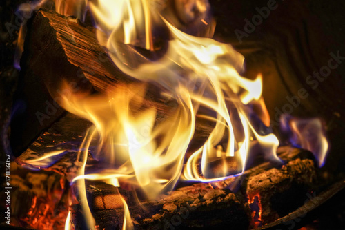 Close up of burning logs on a open fire
