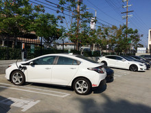 Electric Vehicle Charging On Sunny Day Parking Lot