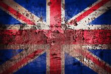 United Kingdom Flag Painted On Old Rusty Plate