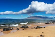 Hawaiian Beach With Black Lava...