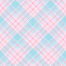 Seamless Pattern In Pastel Pink And Blue Colors For Plaid, Fabric, Textile, Clothes, Tablecloth And Other Things. Vector Image. 2