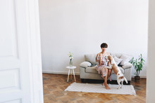 Indoor Portrait Of Excited Dark-haired Girl Playing With Beagle At Home On White Carpet In Weekend. Joyful Young Woman With Elegant Hairstyle Posing In Big Stylish Room While Puppy Sniffs Her Hand.