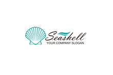 Emblem Of Blue Seashell Isolat...