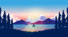 Calm Lake In Beautiful Nature Landscape. Boat On Water In Sunset, Mountains Reflecting In The Ocean A Late Evening, Peace And Quiet Background. Adventure, Traveling Concept In Vector Illustration.