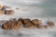 Long Exposure Of Sea Washing O...