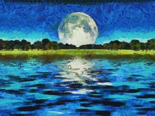 Surreal Digital Art. Green Trees In The Water. Giant Moon In The Sky