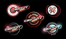 Cricket Vector Logo Set. Modern Professional Typography Sport Retro Style Vector Emblem And Template Logotype Design. Cricket Colorful Logo Collection.