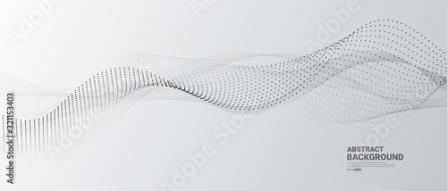 Obraz Grey white abstract background with  flowing particles. Digital future technology concept. vector illustration. - fototapety do salonu