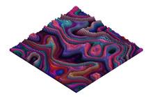 Voxel Mountainous Terrain Pixel Art Sample - 3D Brick World -  Isometric Logarithmic Model Relievo Concept  Illustration