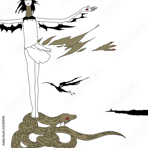 Fantastic blindfolded lady standing on a snake or dragon Wallpaper Mural