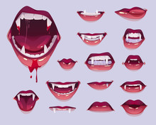 Vampire Mouth With Fangs Set, ...