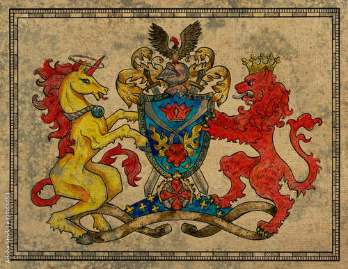 Antique gobelin with unicorn and lion beast on texture background Fototapet