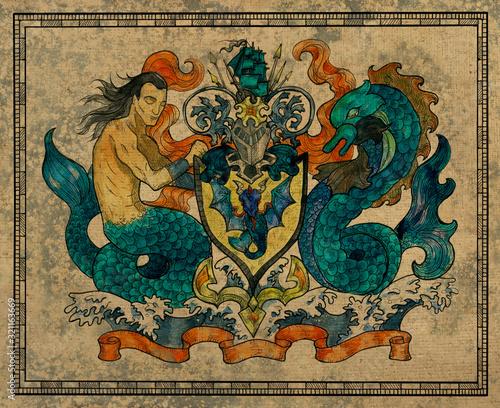 Antique gobelin with heraldic mermaid and fish holding shield. Billede på lærred
