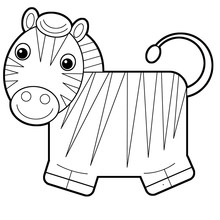 Cartoon Scene With Zebra On Wh...