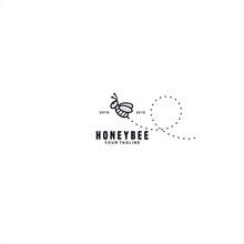 Cute Honey Bee Logo Design Tem...