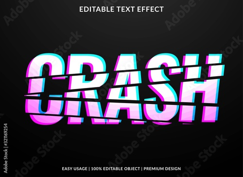 Valokuvatapetti crash text effect template with bold type style and glitch concept use for stick