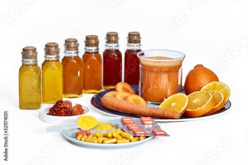 Turmeric (Curcuma longa Linn) herbal supplement In powder, capsules, juice, gummies, tablets form © Polina