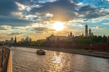Moscow Russia, sunset city skyline at Kremlin Palace Red Square and Moscow River