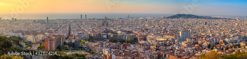 Barcelona Spain, high angle view panorama city skyline sunrise from Bunkers del Wallpaper Mural