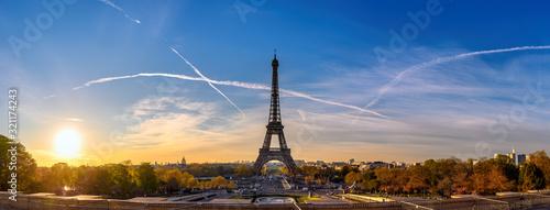 Fototapeta Paris France, panorama city skyline sunrise at Eiffel Tower and Trocadero Garden