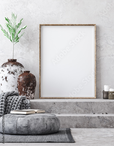 Fototapeta Mockup poster in ethnic style living room interior, 3d render obraz