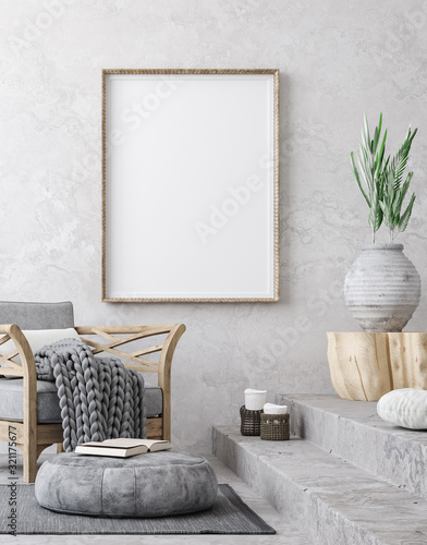 mata magnetyczna Mockup poster in ethnic style living room interior, 3d render