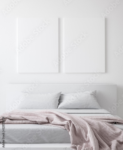 Fototapeta Mockup poster in bedroom, Scandinavian style, 3d render obraz na płótnie
