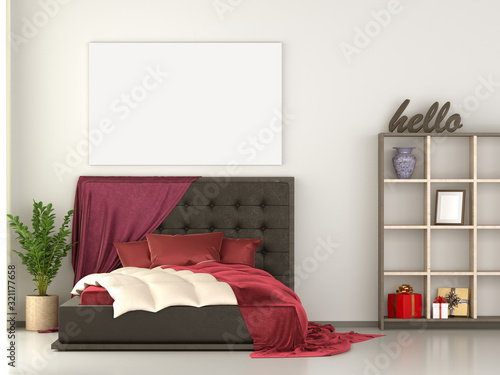 Slika na platnu Mock up canvas poster bed room with kingsize bed, bookshelf, vase, gift box, red pillow, blanket and plant