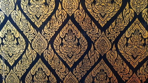 Close up  Kanok thai pattern in temple of thailand, Traditional thai painting in Buddhist temple.