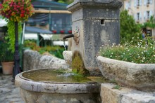 Ancient Moss Covered Fountain ...