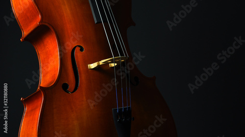 Foto Cello closeup on dark gray background banner