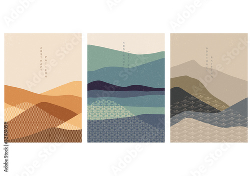 Fototapeta Vector set of Natural landscape background with Japanese pattern. Mountain forest template with geometric elements.  obraz