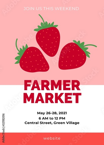 Farmer market template. Strawberry background with red sweet juicy berry drawings. Great for farmers market, sales or festival. Cute cartoon flat design. Vector