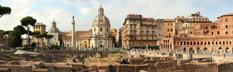 Panorama of the Remains of The Forum of Augustus in Roma