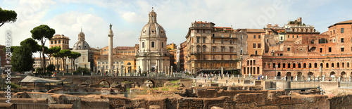 Photo Panorama of the Remains of The Forum of Augustus in Roma