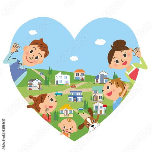 幸せ家族とハートの街並み Wall mural