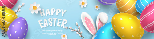 Fotografia Vector cute horizontal greeting banner with fur ears of bunny, realistic colored 3D eggs, paper pussy willow and chamomiles on blue background