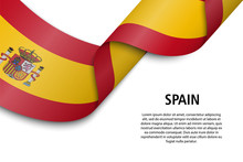 Waving Ribbon Or Banner With Flag Spain