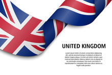Waving Ribbon Or Banner With Flag United Kingdom