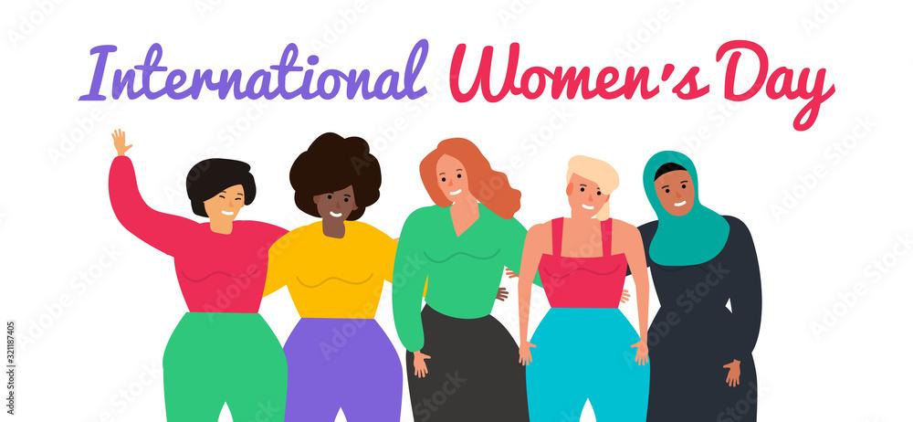 Fototapeta 8 march happy international women's day group on women vector illustration