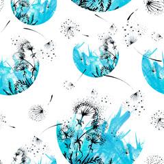 Fototapeta Dmuchawce Vintage seamless watercolor pattern of plants. Herbs, dandelion, garden flowers, dried flowers, white, blue, black, flowers watercolor. On a black background. Vintage pattern, abstract splash of paint