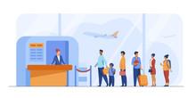 Airport Queue Vector Illustrat...