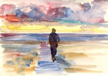 Watercolor Drawing Man Walking...