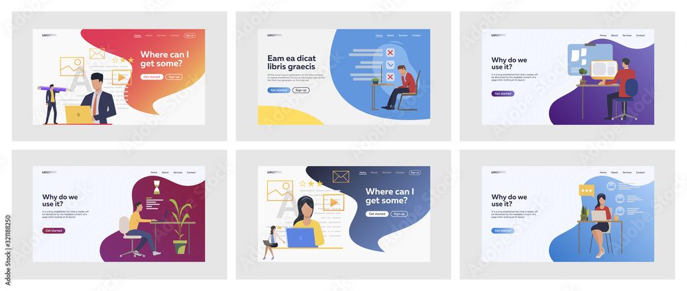 Fototapeta Set of managers working on project in deadline. Flat vector illustrations of customers rating media online. Rating, deadline, pressure concept for banner, website design or landing web page