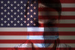 Masked girl, coronary virus disease, new pneumonia. Global outbreak in China. Against the background of the america flag.