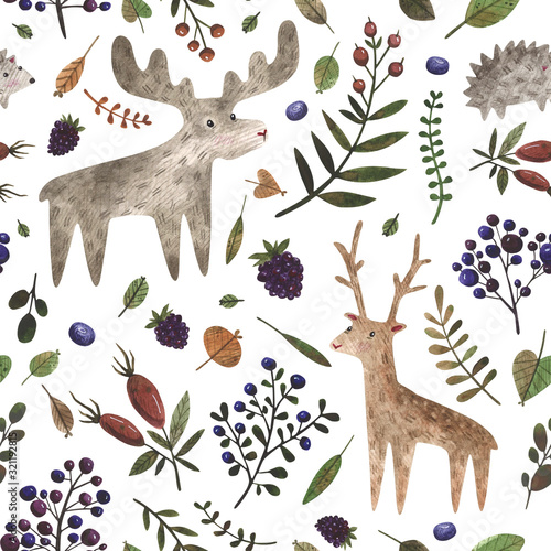 Seamless pattern with wild forest animals. Watercolor hand painted deer, elk, hedgehog and different plants. Woodland animals background perfect for children's textiles, wrapping, cards, wallpaper