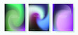 Set of posters with Northern lights gradient. Luminescence of Aurora Borealis.