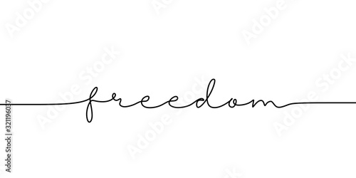 Leinwand Poster Continuous line drawing freedom text
